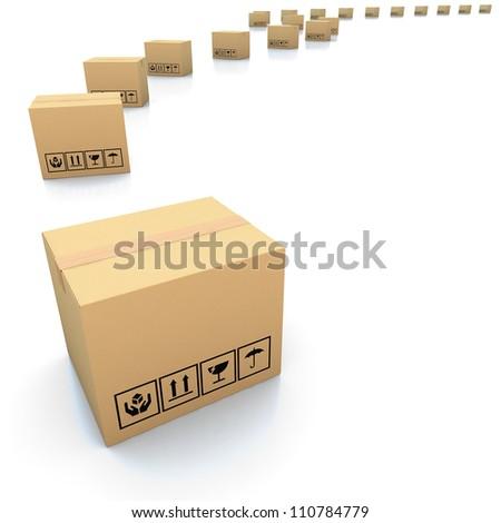 Cardboard boxes on white background 3d illustration - stock photo