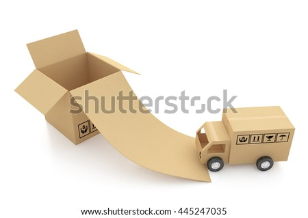 Cardboard boxes on white background 3d illustration - stock photo