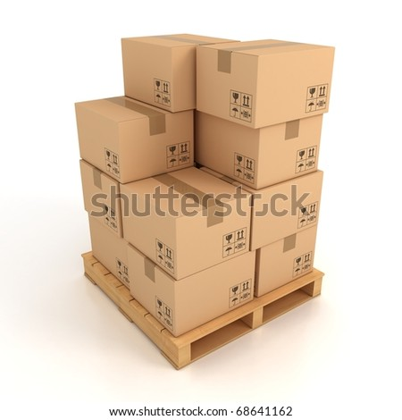 cardboard boxes on wooden palette 3d illustration - stock photo