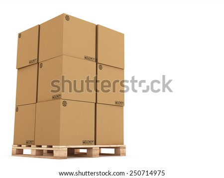 cardboard boxes on wooden palette 3d illustration, isolated on white background - stock photo