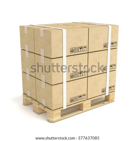 Cardboard boxes on wooden pallet. Deliver concept. 3D render illustration isolated on white background - stock photo