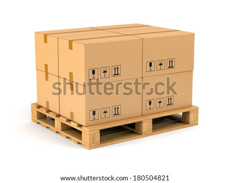 Cardboard boxes on wooden pallet isolated on white background. Warehouse, shipping, cargo and delivery concept. - stock photo