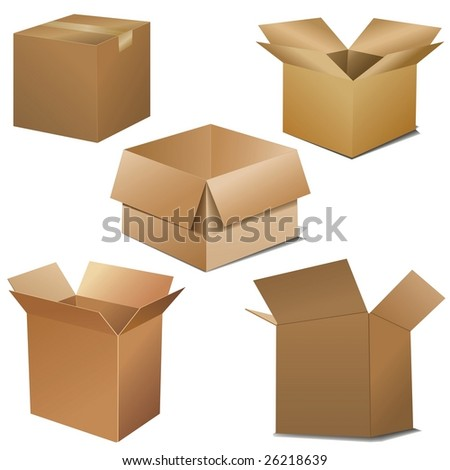 cardboard boxes. Opened and closed - stock photo