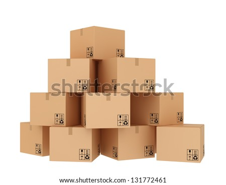 cardboard boxes ready for shipment - stock photo