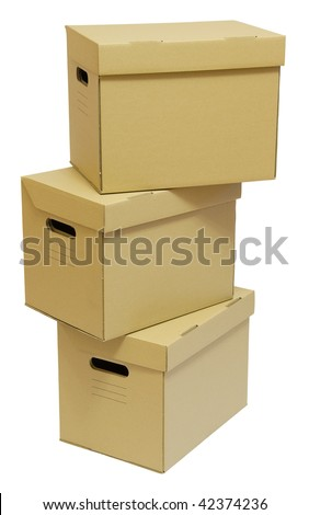 Cardboard boxes stack for a moving day - stock photo