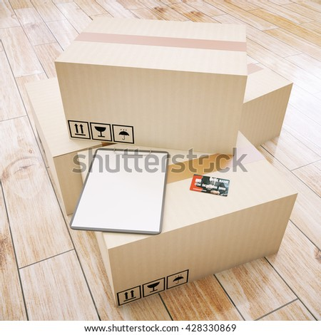 Cardboard boxes with blank clipboard and credit card on wooden floor. Mock up, 3D Rendering - stock photo