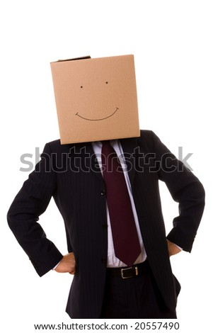 cardboard businessman standing with a smile face - stock photo