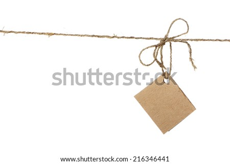 Cardboard card hanging on the rope isolated on white background - stock photo