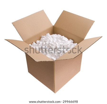 Cardboard carton filled with polystyrene foam chips isolated on white background - stock photo