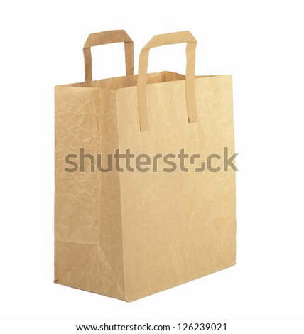 Cardboard carton wrapped with brown paper isolated on white
