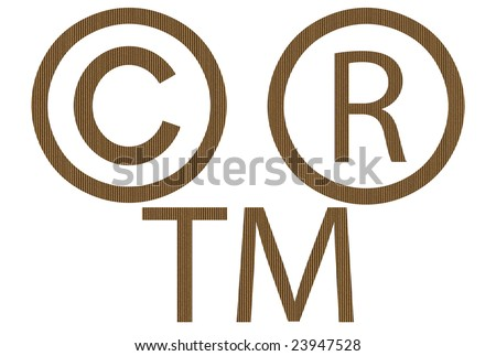 Cardboard commercial symbols isolated over white background - stock photo