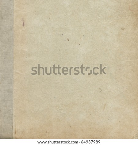 Cardboard cover of the old book, 30 years ago - stock photo