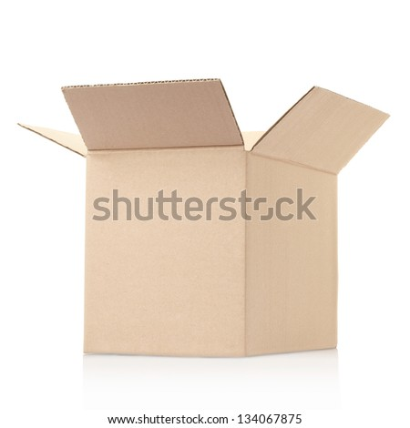Cardboard cube box isolated on white, clipping path included - stock photo