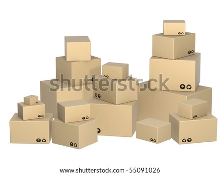 Cardboard 3d boxes. Objects isolated over white