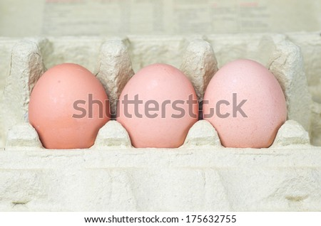 Cardboard egg box with eggs isolated with clipping path  - stock photo