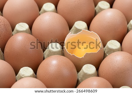 Cardboard egg box with one broken brown egg   - stock photo