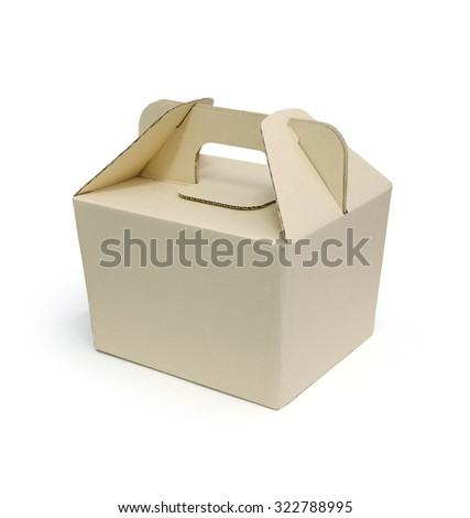 Cardboard food box on white background with clipping path. Paper packaging box. - stock photo