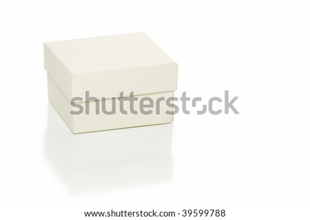 Cardboard gift box isolated on white with reflection - stock photo