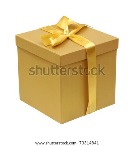 Cardboard gift box with gold ribbon isolated with clipping path included - stock photo