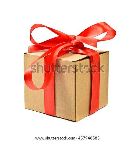 Cardboard gift box with red ribbon bow, isolated on white
