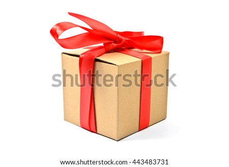 Cardboard gift box with red ribbon isolated on white - stock photo