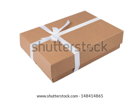 Cardboard gift box with white ribbon - stock photo