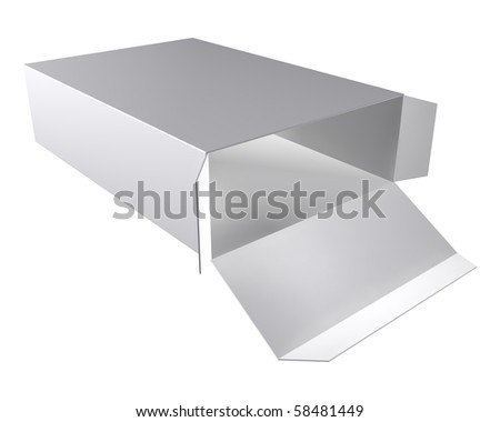 Cardboard gray box on white background. - stock photo
