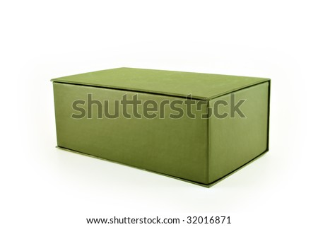 Cardboard green box on white background.