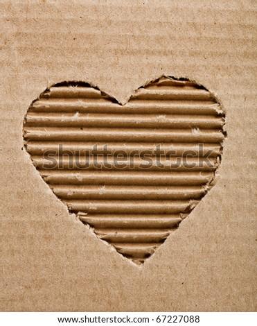 cardboard heart background - stock photo