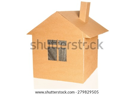 Cardboard house on white background
