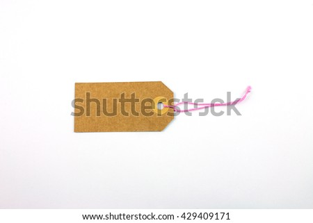 Cardboard Label with Pink Thread Isolated.