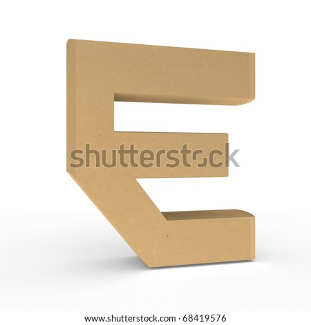 Cardboard letter on white background