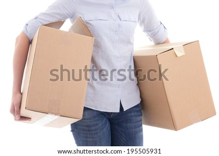 cardboard moving boxes in woman hands isolated on white background - stock photo