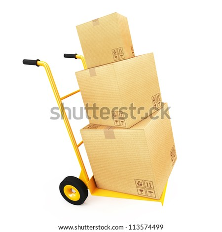 Cardboard on handcart - stock photo
