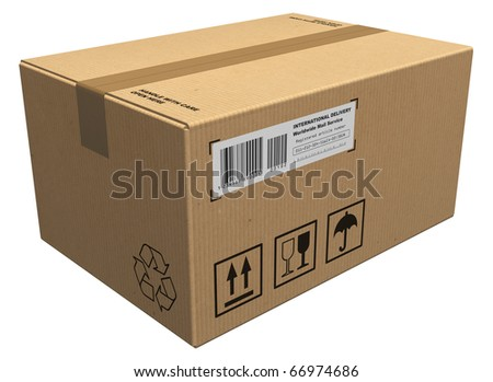 Cardboard package - stock photo