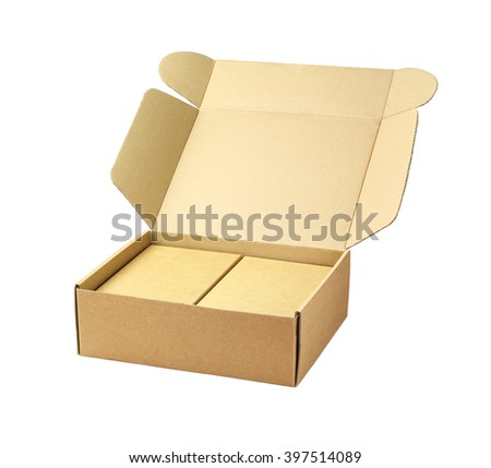 Cardboard Package Boxes on White Background - stock photo