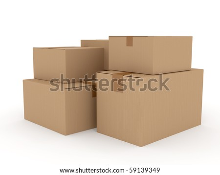 Cardboard package over white. 3d rendered image - stock photo