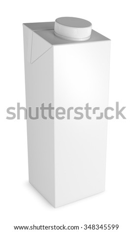 Cardboard packaging for liquid products. Isolated on white
