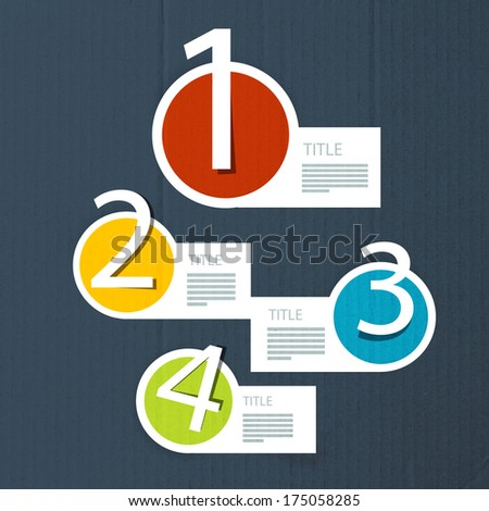 Cardboard Paper Progress Steps for Tutorial, Infographics - Also Available in Vector Version  - stock photo