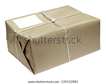 cardboard parcel parcel tied with string isolated on white background - stock photo