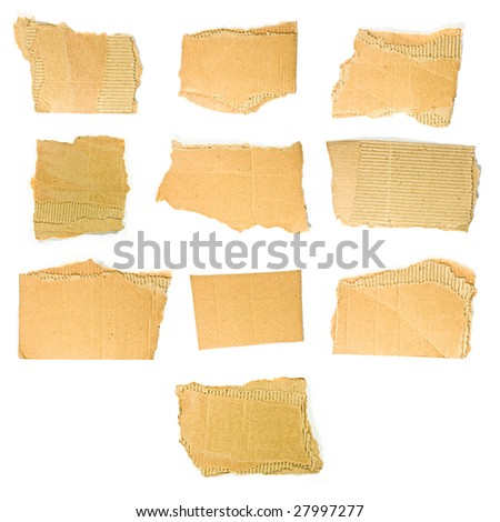cardboard pieces on white background - high definition photo