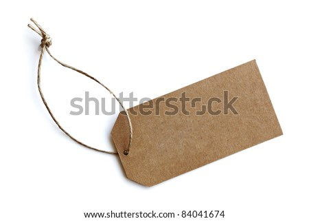 Cardboard price tag or sales label with string on white background - stock photo