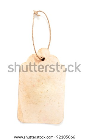 Cardboard price tag or sales label with string on white background