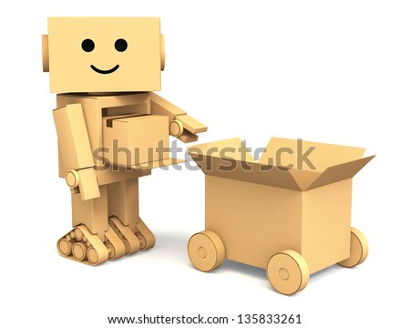 Cardboard robot carry a small cargo to a cardboard car - stock photo