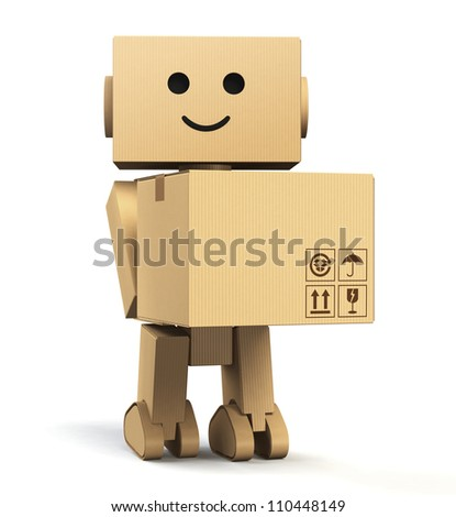 cardboard robot carrying a box with blank space - stock photo