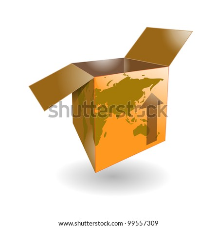 Cardboard shipping box with word map for international shipping - stock photo