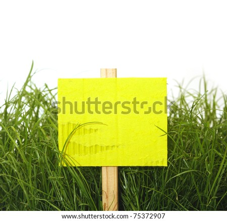 cardboard sign with grass isolated on white
