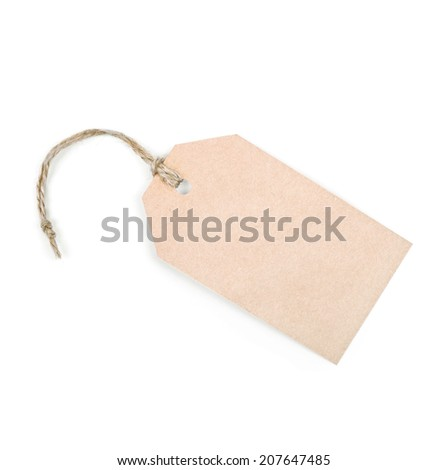 cardboard tag  isolated on white background