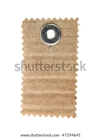 cardboard tag isolated on white background - stock photo