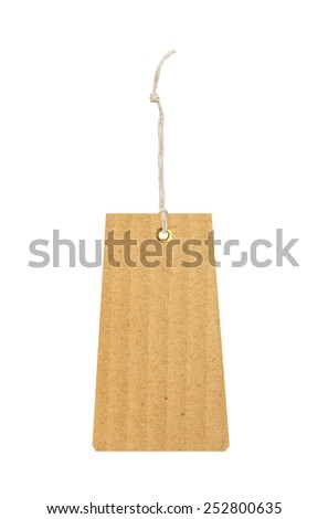 cardboard tag with metal grommet isolated on white background - stock photo